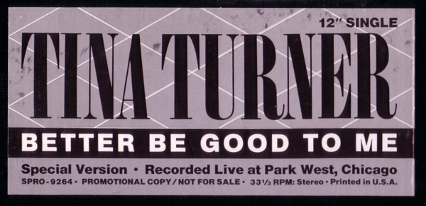 Tina Turner - Better Be Good To Me Album