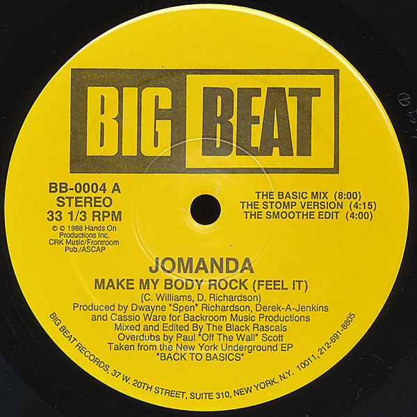Jomanda - Make My Body Rock (feel It) Record