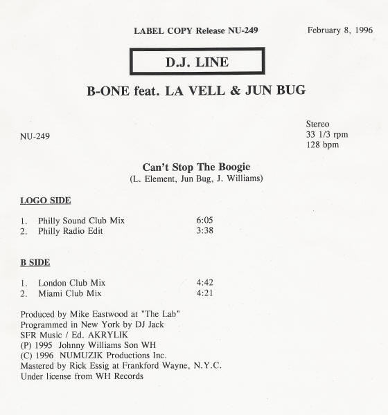 B-ONE FEAT. LA VELLE & JUN BUG - Can't Stop The Boogie - Maxi 45T